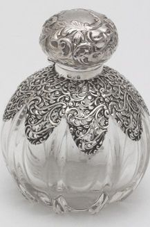 Antique perfume bottle/crystal and sterling silver