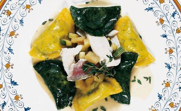 """""""Mezzelune di mare con melanzane e zucchine al timo"""" dello chef Marco Cavallucci del Ristorante La Frasca di Milano Marittima (RA)  #lamadia #lamadiatravelfood #food"""