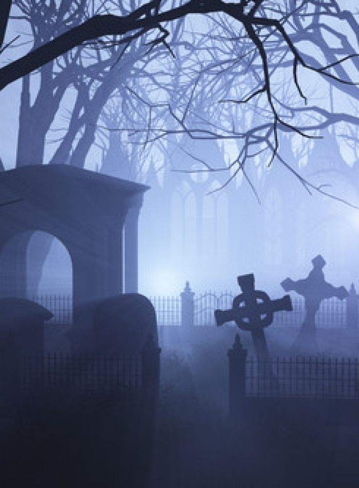 Spooky Foggy Cemetery At Night I Dig Art With A Shovel