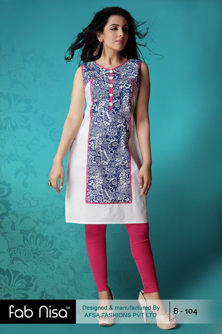 Fab Nisa White and Blue printed kurti for Rs.899/-  www.fabnisa.in
