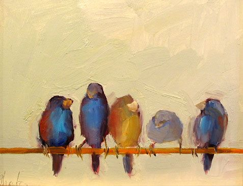 I love paintings of birds on telephone wires....so simple, yet so beautiful.
