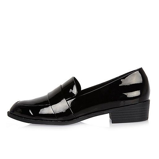 Black patent low heel loafers - flat shoes - shoes / boots - women