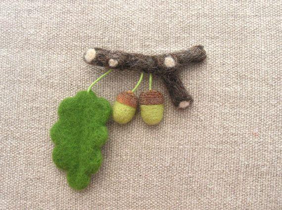 Needle felted brooch acorns needle felted brooch by CraftbyMaryla, $28.00