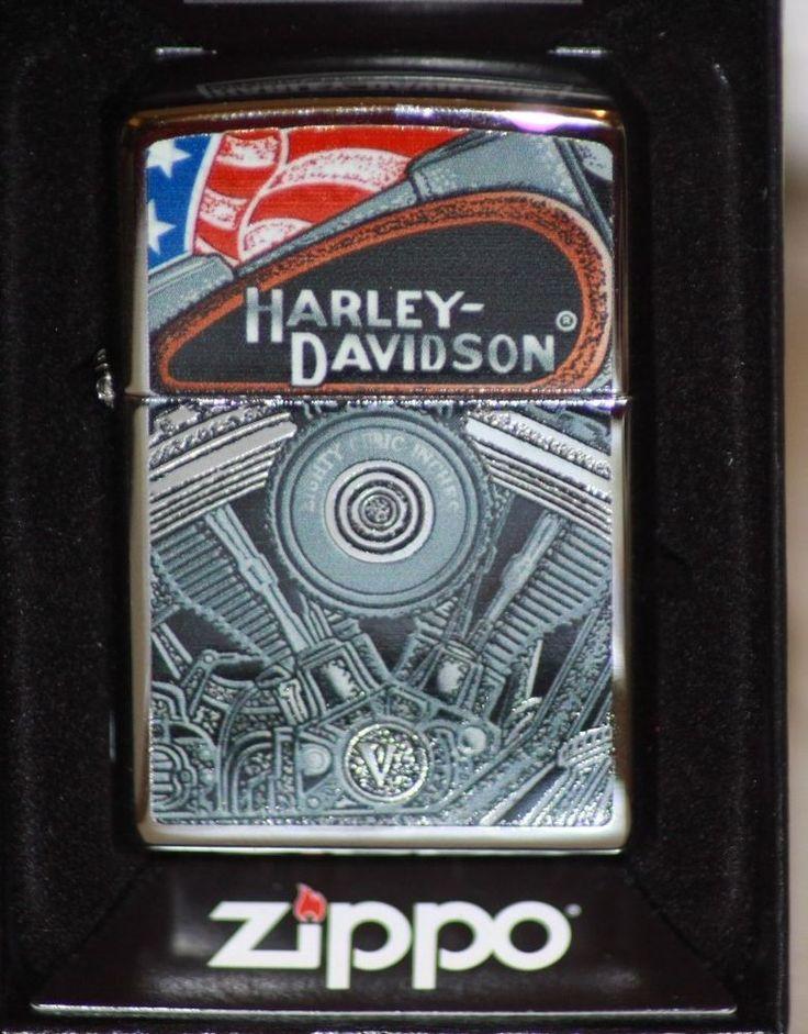 Zippo Harley-Davidson American Flag Engine Pocket Lighter NEW W/Box Windproof