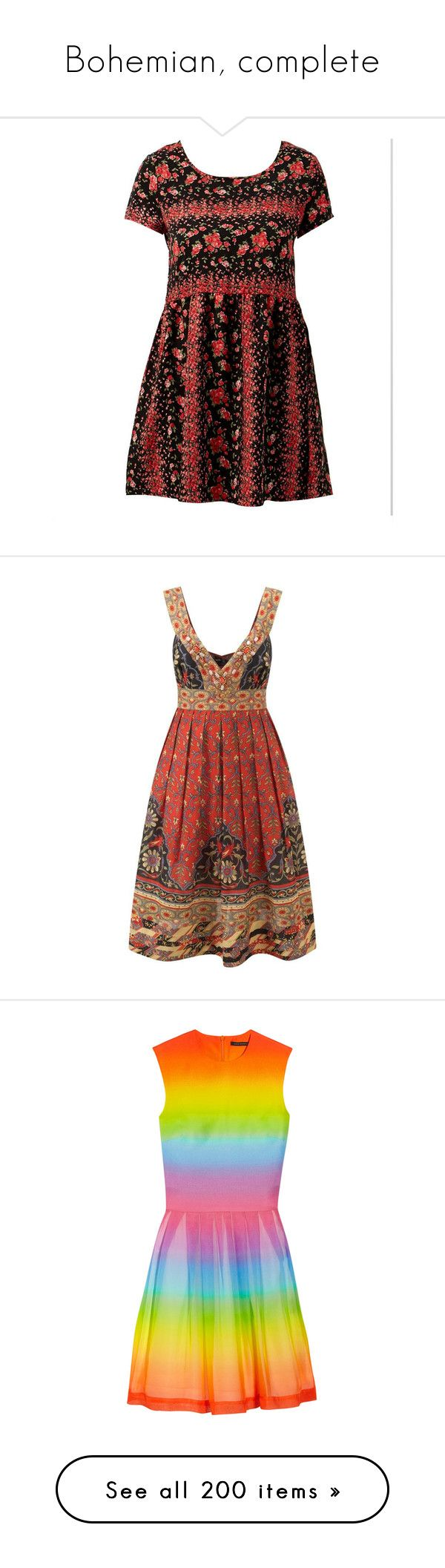 """""""Bohemian, complete"""" by domino-80 ❤ liked on Polyvore featuring dresses, pattern dress, tent dress, babydoll dress, short sleeve babydoll dress, rose print dress, vestidos, short dresses, women's clothing and multi color mini dress"""