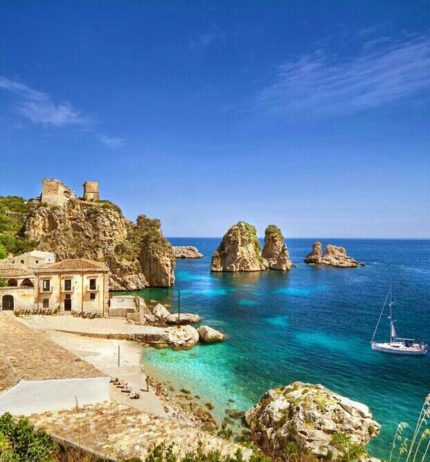 Tonnara di Scopello, Trapani, Sicily. Change your Lifestyle ! Earn enough so you can holiday in these places. www.EarnMoneyBurn... .