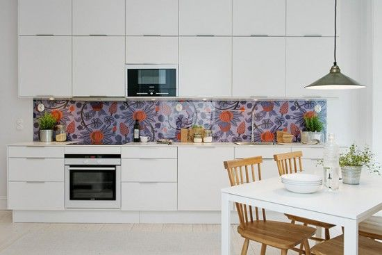 alvhem interiors kitchen with wallpaper2