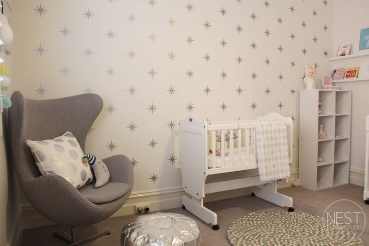 Star wall is created by using wall decals.Lane Nurseries, Nests Design, Kids Room, Wall Decal, Baby Room, Neutral Nurseries, Design Studios, Nurseries Ideas, Baby Nurseries
