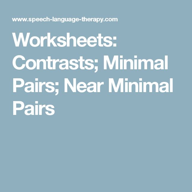 17 Best Ideas About Minimal Pair On Pinterest