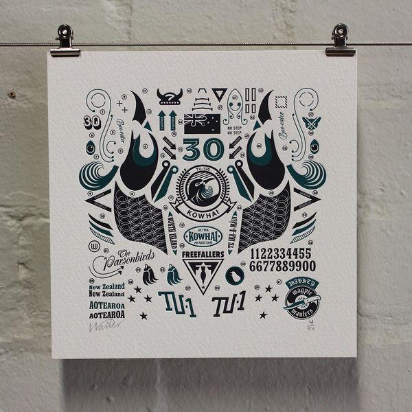 Kowhai Squadron – Letterpress Edition by Walter Hansen, via Behance