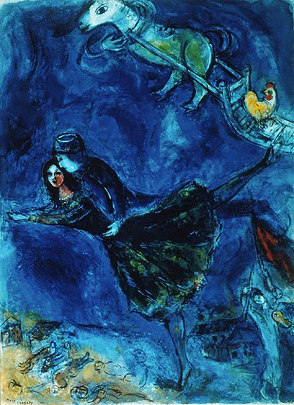 The Lovers, 1944, Marc Chagall, gouache and color crayon on paper, On loan from the estate of Jackson T. Stephens