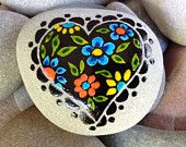 Midnight Valentine / Love is Beautiful  / painted rock / Sandi Pike Foundas / beach stone from Cape Cod
