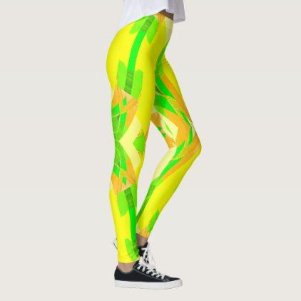KICKY FUN  Fashion Leggings-Orange/Green/Yellow Leggings - gift for her idea diy special unique