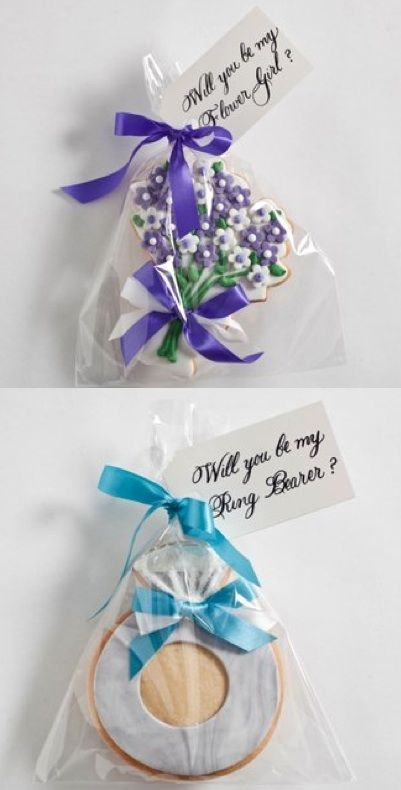"""Will you be my bridesmaid"" cookies. Cute idea"