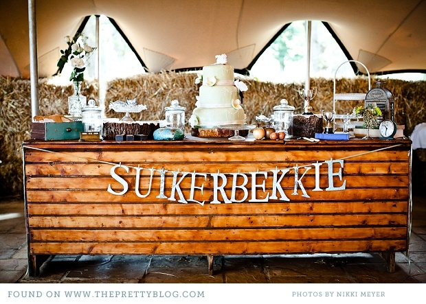 Dessert buffet- I like the table and the banner in general, but I also really like the use of Afrikaans, which will most likely be present in my big day.