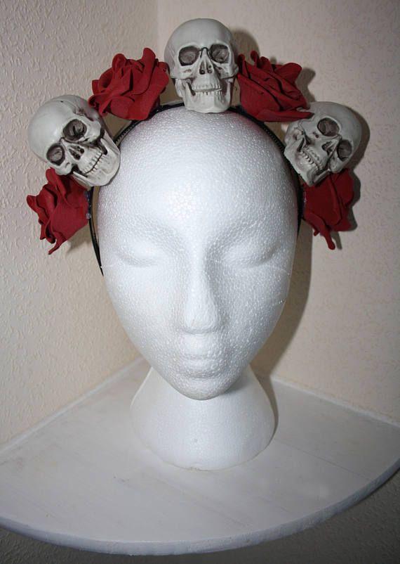 Skull Headdress Red Rose Headband Headpiece Halloween Deep Red Wine Goth Gothic Alternative Spooky