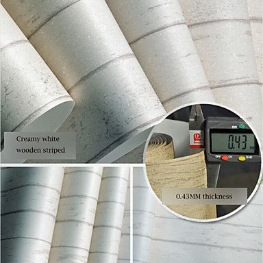 Contemporary Wallpaper Stripe Mediterranean Wooden Designs Creamy White Wall Covering Non-woven Paper Wall Art – AUD $ 72.92