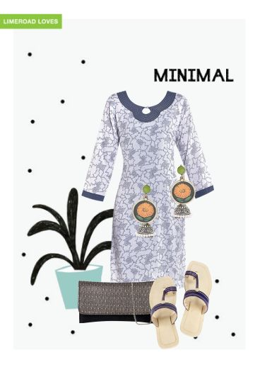 'Minimal' by me on Limeroad featuring White Kurtas, Multi Color Earrings with Brown Clutches