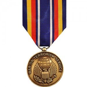 The Global War on Terrorism Service Medal (GWOTS) is a decoration of the United States Armed Forces presented to members of the U.S. military who have served in the War on Terror from September 11, 2001 to a yet to be determined date. To be eligible, service members must have served at least 30 consecutive or 60 cumulative days within an authorized anti-terrorism campaign.