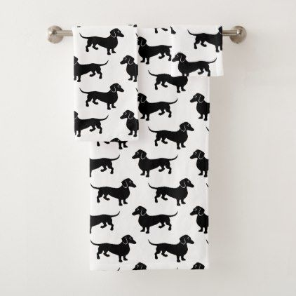 Black and White Dachshund Pattern Bath Towel Set - fathers day best dad diy gift idea cyo personalize father family