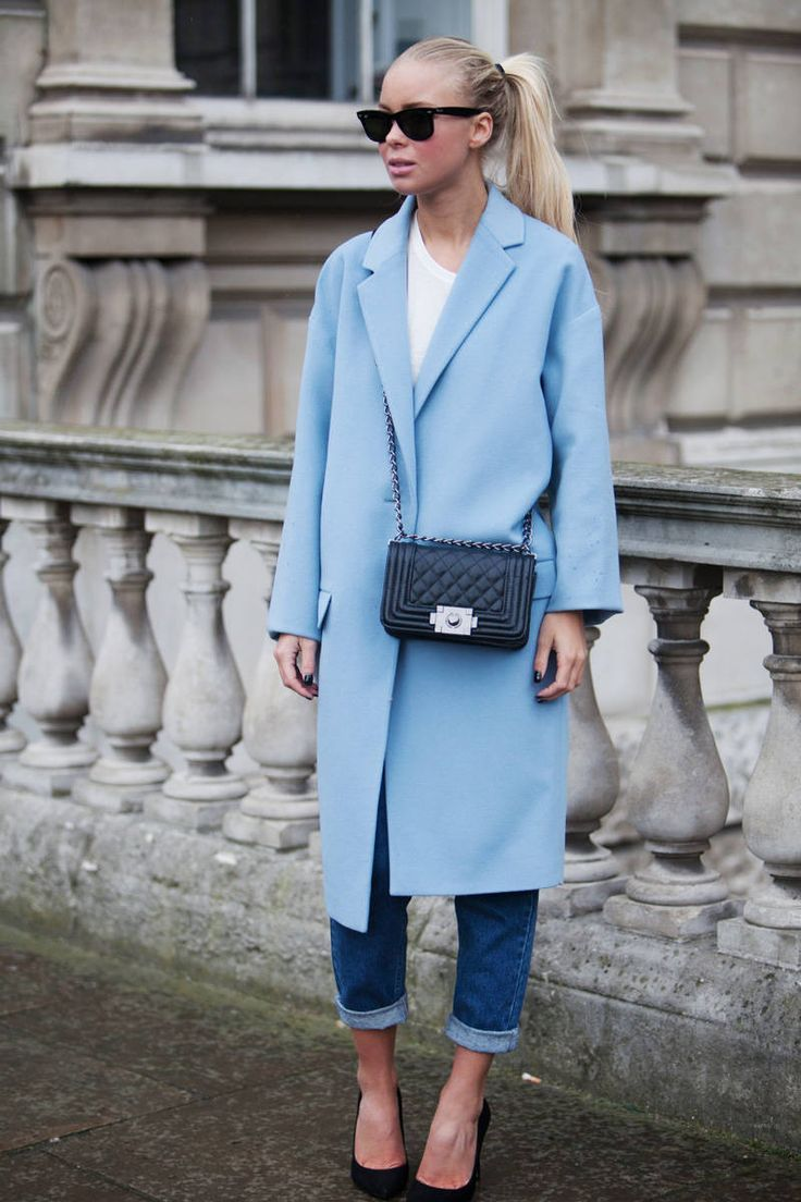 To create an outfit for lunch with friends at the weekend try teaming a light blue coat with dark blue boyfriend jeans. Dress up this look with black suede pumps.  Shop this look for $123:  http://lookastic.com/women/looks/crew-neck-t-shirt-coat-crossbody-bag-sunglasses-boyfriend-jeans-pumps/4420  — White Crew-neck T-shirt  — Light Blue Coat  — Black Quilted Leather Crossbody Bag  — Black Sunglasses  — Navy Boyfriend Jeans  — Black Suede Pumps