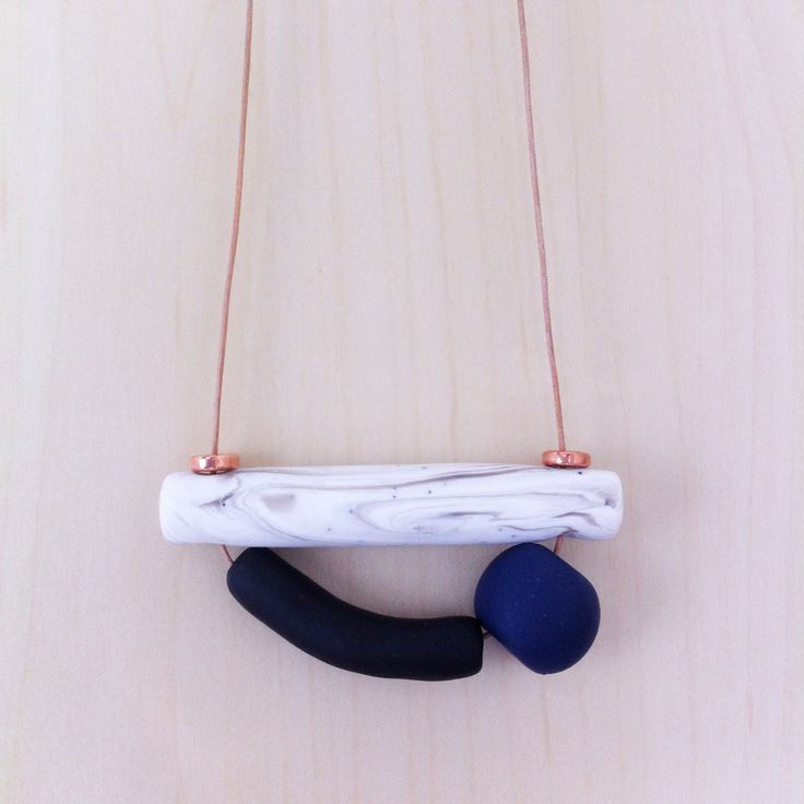 Vera Marble - Handmade Polymer clay Necklace, 3 bead, adjustable leather cord by onthedotdesign on Etsy