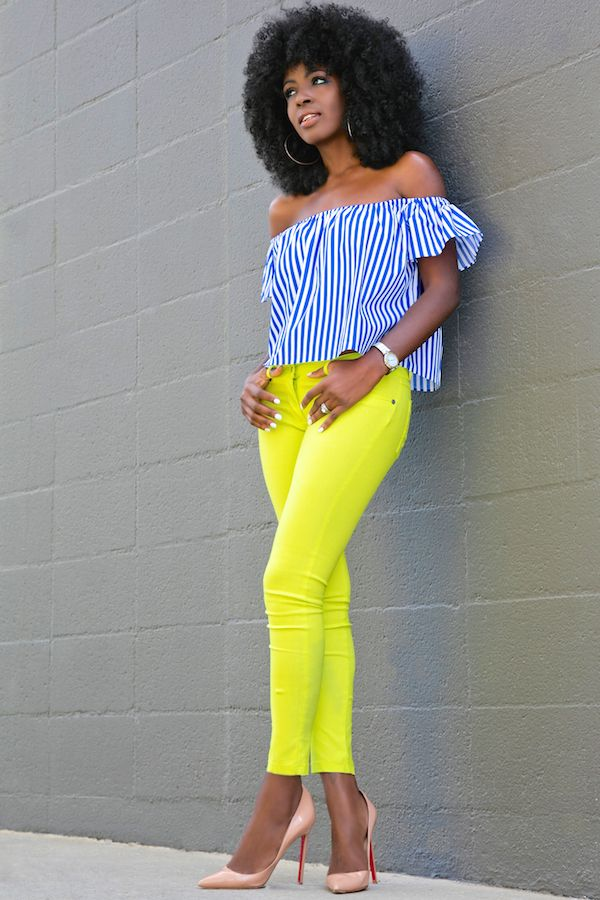 Striped Off Shoulder + Neon Skinny Jeans