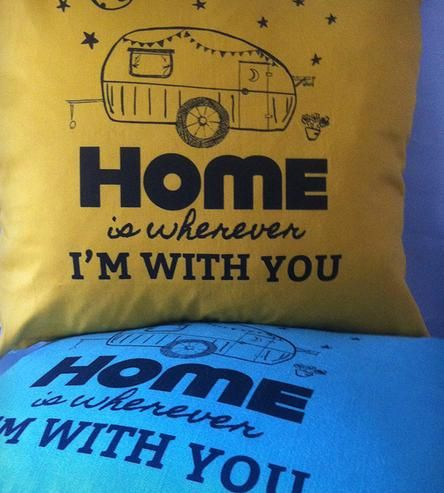 Holy Moly Me Oh My Pillow Cover By Passive Juice Motel. Inspired by the Edward Sharpe and the Magnetic Zero's song, Home Is Wherever I Am With You. With vintage camper!