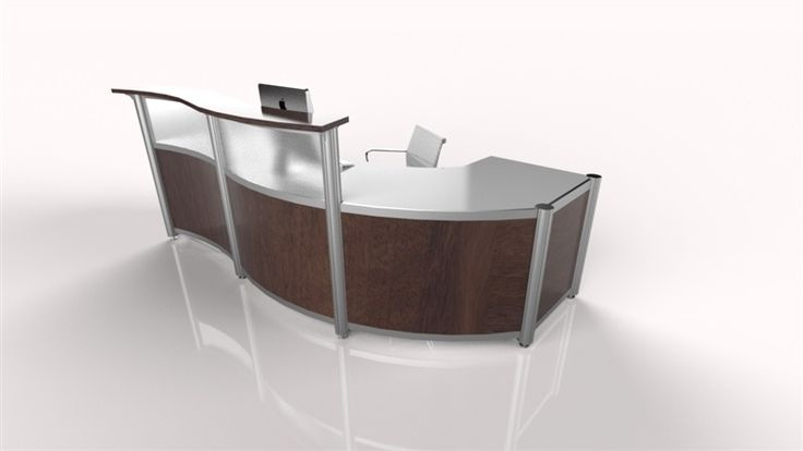 This slightly curved reception desk brings an elegant flare to lobby of  any reception area such as spas..  Finishes - Stainless work-surface, anodized Silver post with Shadow Oak transaction top and divider panels.