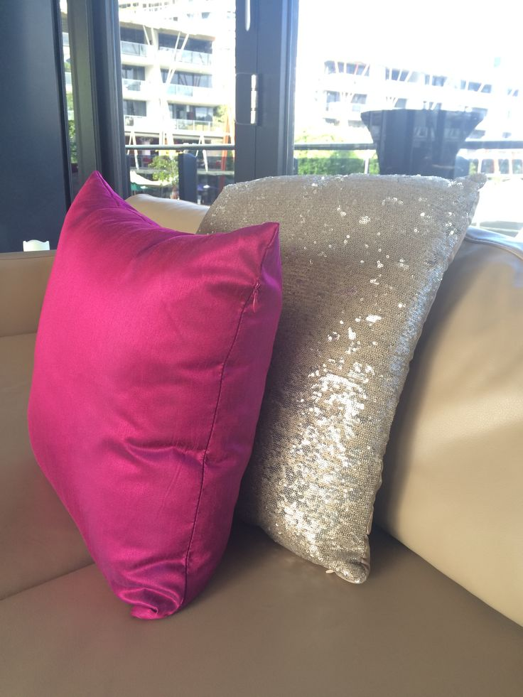 Gold Sequin Cushion Pink Cushion Accessorising Starship's gorgeous leather lounges http://www.bespokesocial.com.au/ http://www.starshipsydney.com.au/