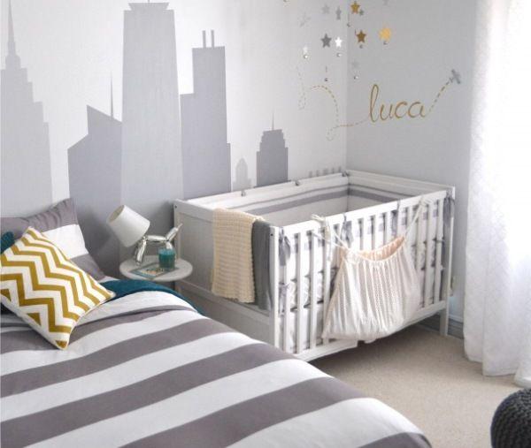 quarto de bebê cinza tema urbano