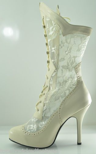 Plus Size Wide Width Victorian Lace Ankle Boot Wedding Shoe 7 13 White Black | eBay