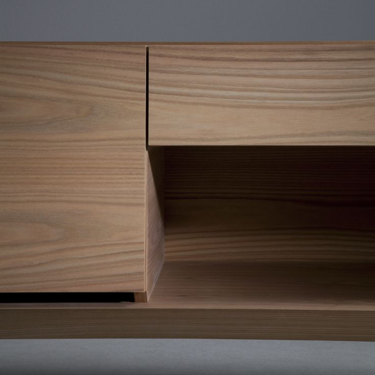 Sideboard 240 with doors, drawer and shelf - elm, a close-up