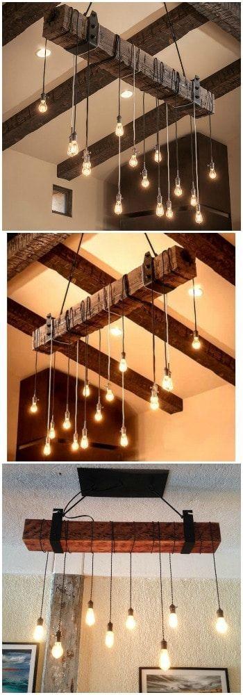 Rustic Wood Beam Lighting Industrial Chandelier