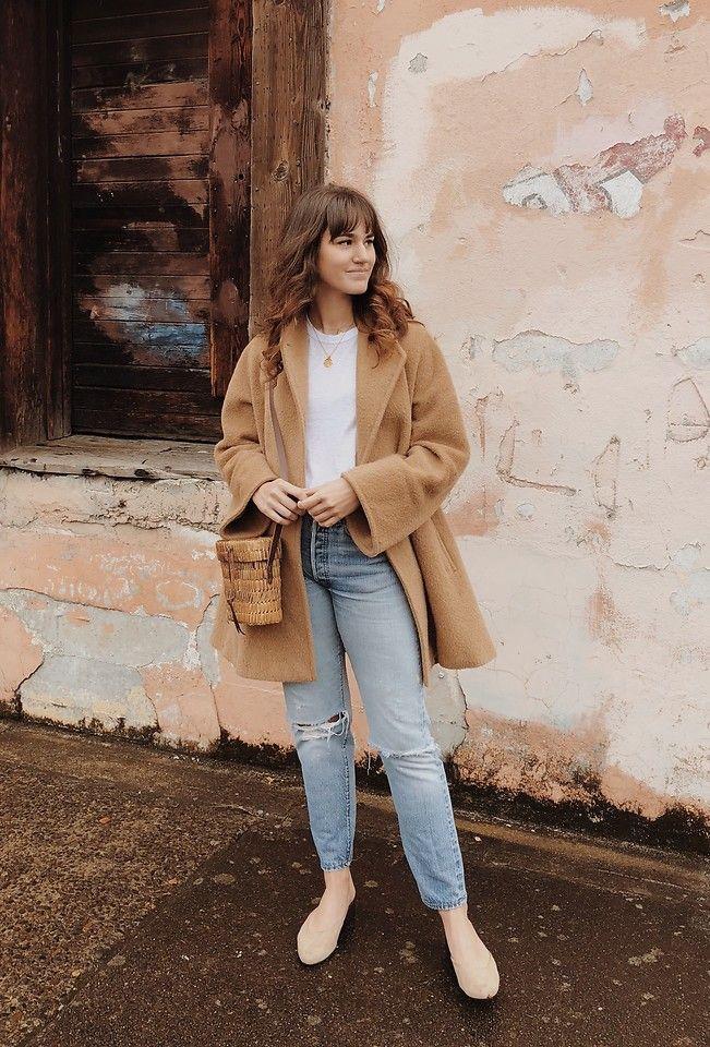 Tonya S. - Maxmara Vintage Camel Coat, Rag & Bone Tee, Vintage 501 Levis, Mari Guidicelli - Camel Coat