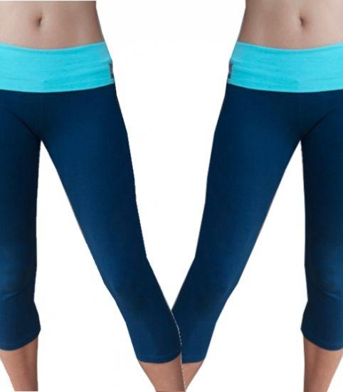 Yoga broek tweekleurig - navy / aqua - maat M - korting -