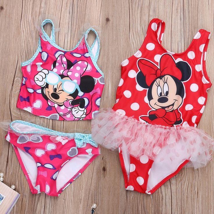 2017 새로운 여자 아기 어린이 유아 귀여운 마우스 수영복 수영복 Tankinis 비키니 세트 여름 cothes 2 톤-7 톤