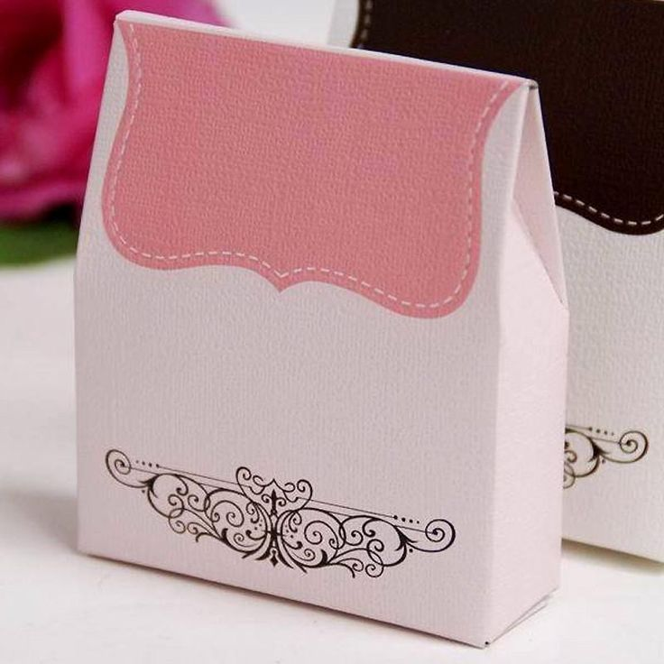 100 Tapestry Favor Box - Pink   The tapestry-like design of this box is a great alternative to the traditional square or triangle boxes.  The unique shape is enhanced by a two tone tapestry pattern dropping from the top, and exquisite black vines burst from the bottom. This graceful lightly shaded box makes your simple treats simply elegant and lovely.  Each box is made of a single piece of sturdy and eco-friendly 350g craft paper.  With very easy assembling, it looks like you've spent hours…