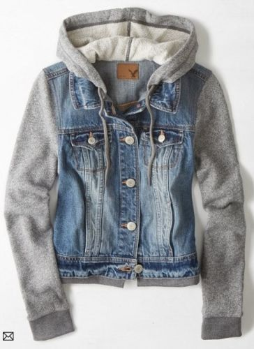 New American Eagle Outfitters AEO Denim Vested Hoodie Medium Wash Jean Jacket XS #AmericanEagleOutfitters #JeanJacket