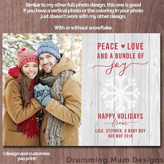 Modern Christmas Card Pregnancy Announcement | Modern Holiday Card | Photo Pregnancy Announcement | Holiday Card Rustic white wood snowflake  I customize, you print! Its easy! *** This listing is for a non-editable DIGITAL FILE, no print will be sent.***  More holiday cards here: