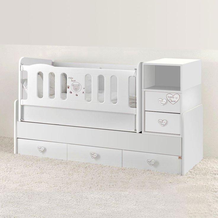 Mitwachsendes Babybett In Weiss   Grau Inkl. Wiege, Wickelkommode U0026 5  Schubladen