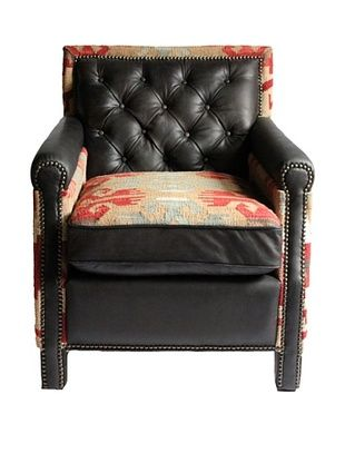 Melange Home Waverly Top-Grain Leather Armchair, Mountain Black/Multi