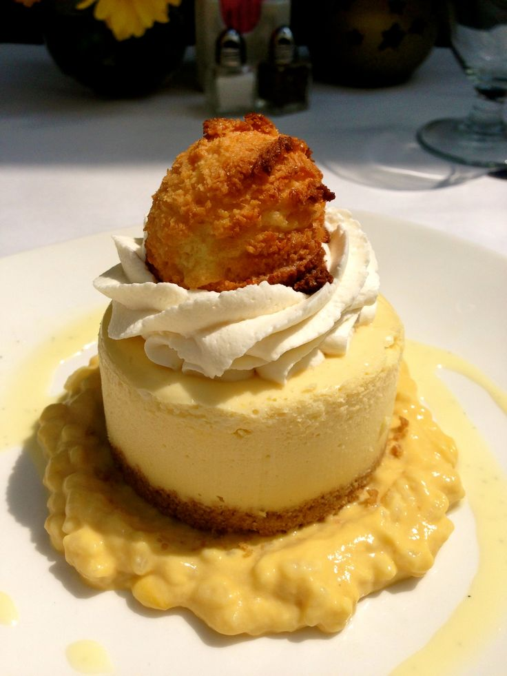 #dessert #keylime #coconut #cheesecake #ricepudding  Key Lime Cheesecake Offered with mango rice pudding and toasted coconut rocher (nut free)