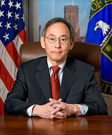 Steven Chu (Chinese: born February 28, 1948 in St. Louis, Mo.) is an American physicist who served as the 12th United States Secretary of Energy from 2009 to 2013. Chu is known for his research at Bell Labs in cooling and trapping of atoms with laser light, which won him the Nobel Prize in Physics in 1997, along with his scientific colleagues Claude Cohen-Tannoudji and William Daniel Phillips.