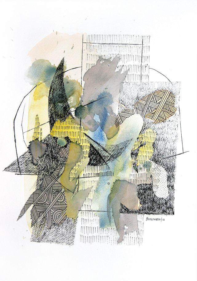 """""""Luna y flecha"""". Acuarela, vino y fibra sobre papel. 30 x 20 cm. 2012."""