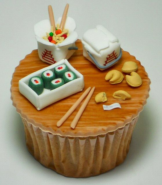 Chinese Take Out Cupcake.. Super cuute