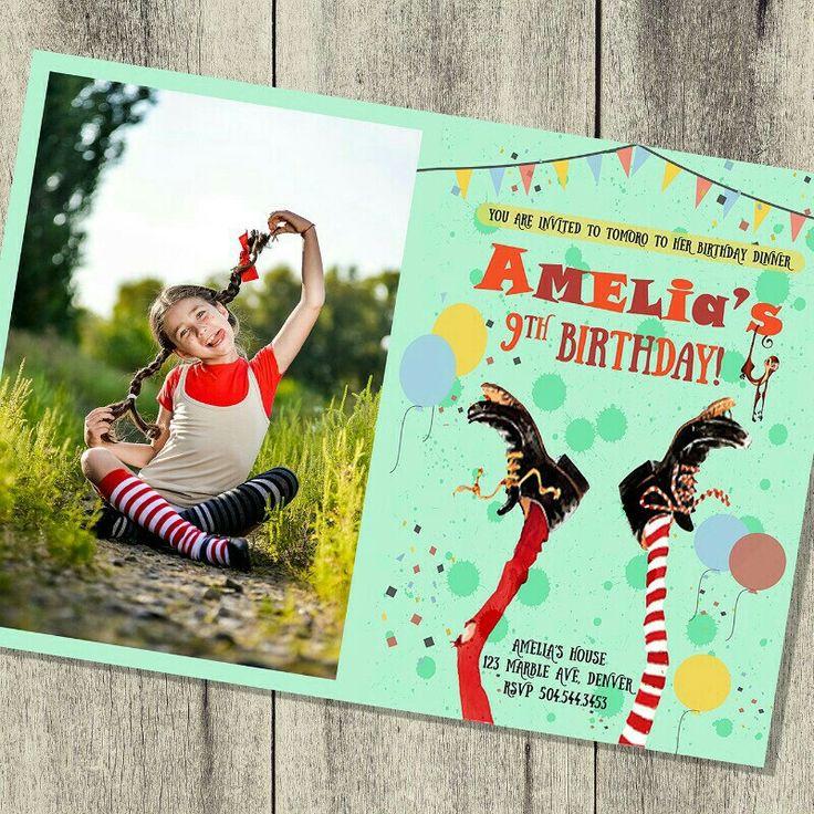 NEW! Pippi Longstocking Birthday Invitation!
