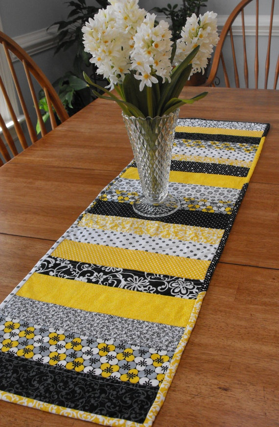 Yellow Gray Black and White Quilted Table Runner by trudaleequilts. $35.00, via Etsy.