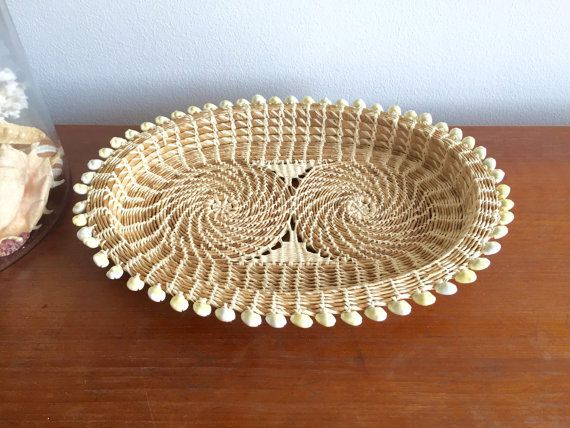Nautical Seashell Basket Tray / South Pacific Micronesia Woven