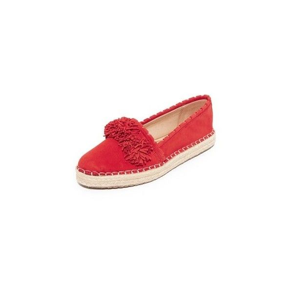 Sam Edelman Issa Platform Espadrilles (161 CAD) ❤ liked on Polyvore featuring shoes, sandals, havana red, red leather sandals, espadrille sandals, red espadrilles, red sandals and pom pom sandals